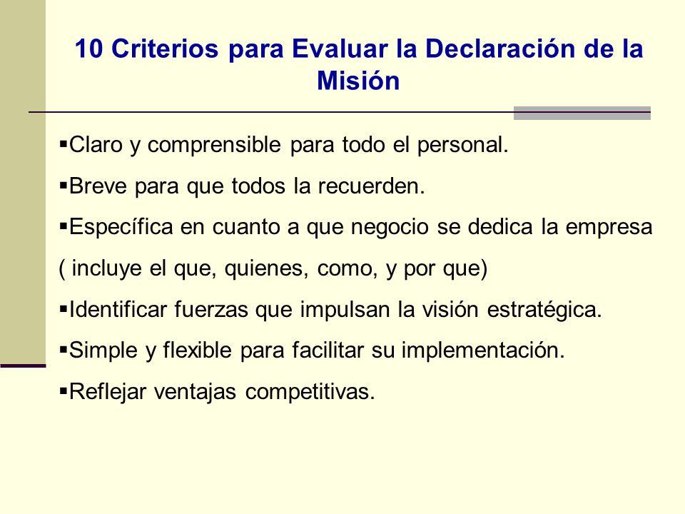 10 Criterios para Evaluar la Declaración de la Misión Claro y comprensible para todo el personal. Breve para que todos la recuerden. Específica en cua