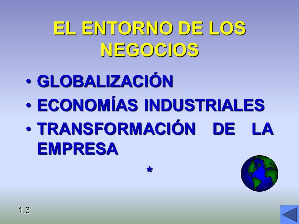 EL ENTORNO DE LOS NEGOCIOS GLOBALIZACIÓNGLOBALIZACIÓN ECONOMÍAS INDUSTRIALESECONOMÍAS INDUSTRIALES TRANSFORMACIÓN DE LA EMPRESATRANSFORMACIÓN DE LA EMPRESA* 1.3