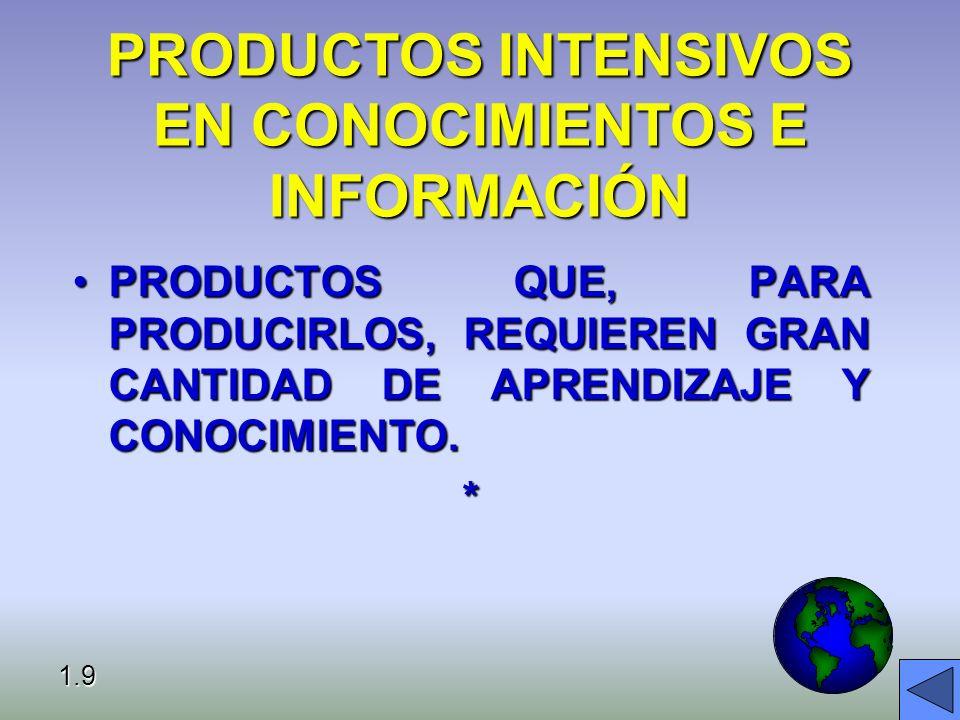 PRODUCTOS INTENSIVOS EN CONOCIMIENTOS E INFORMACIÓN PRODUCTOS QUE, PARA PRODUCIRLOS, REQUIEREN GRAN CANTIDAD DE APRENDIZAJE Y CONOCIMIENTO.PRODUCTOS QUE, PARA PRODUCIRLOS, REQUIEREN GRAN CANTIDAD DE APRENDIZAJE Y CONOCIMIENTO.* 1.9