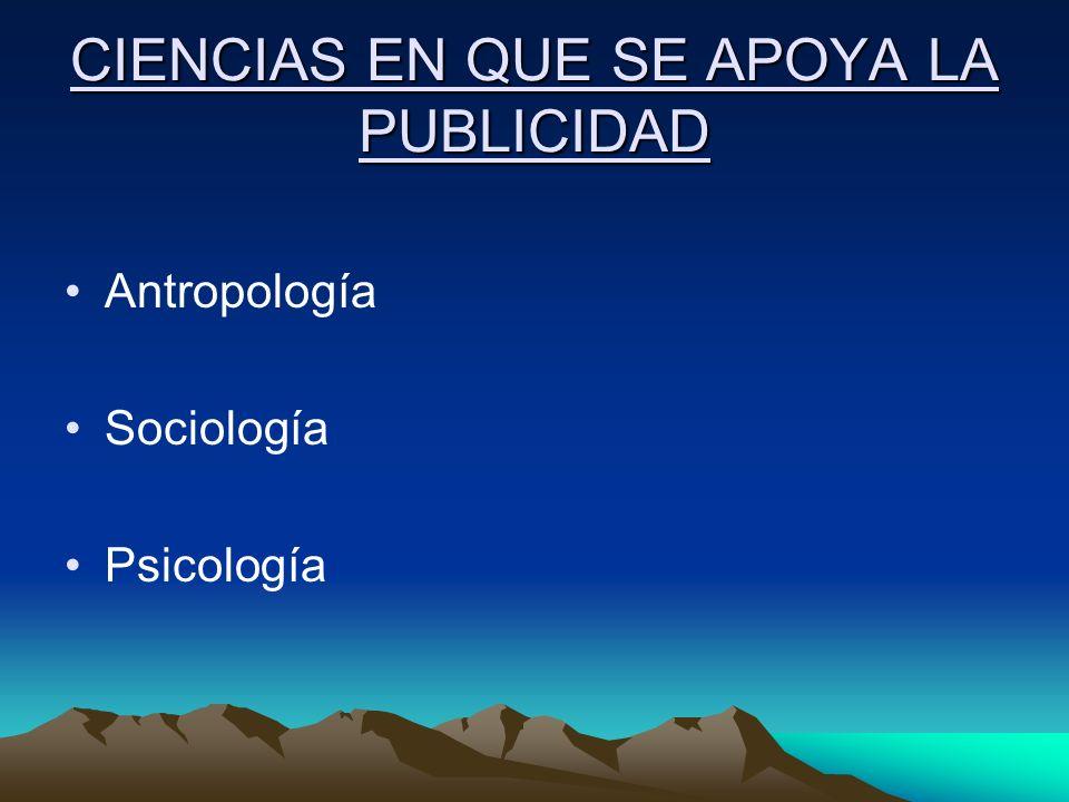 CIENCIAS EN QUE SE APOYA LA PUBLICIDAD Antropología Sociología Psicología