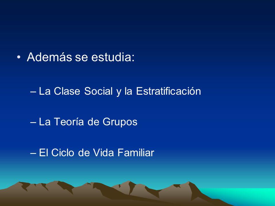 Además se estudia: –La Clase Social y la Estratificación –La Teoría de Grupos –El Ciclo de Vida Familiar