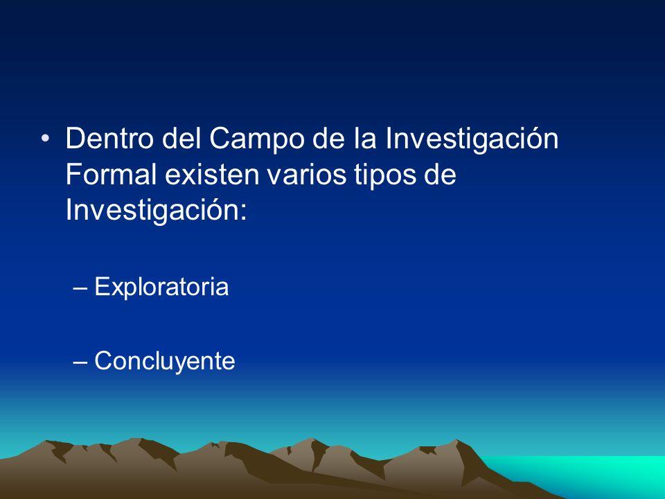 Dentro del Campo de la Investigación Formal existen varios tipos de Investigación: –Exploratoria –Concluyente