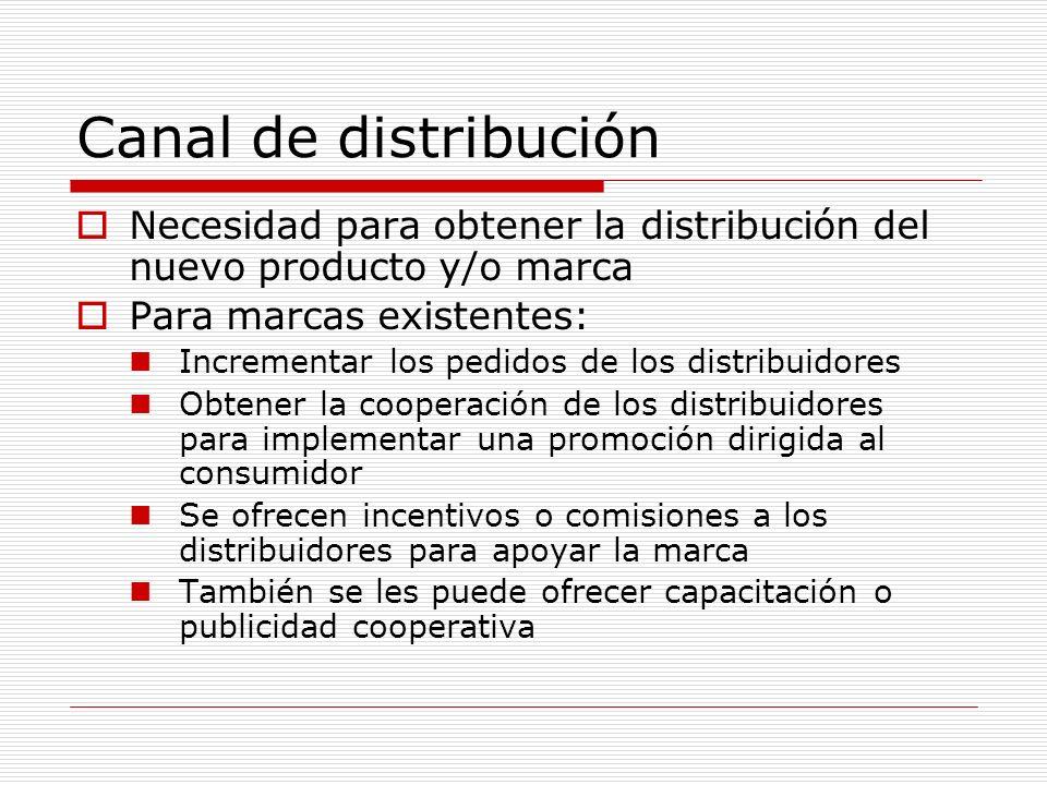 Canal de distribución Necesidad para obtener la distribución del nuevo producto y/o marca Para marcas existentes: Incrementar los pedidos de los distr