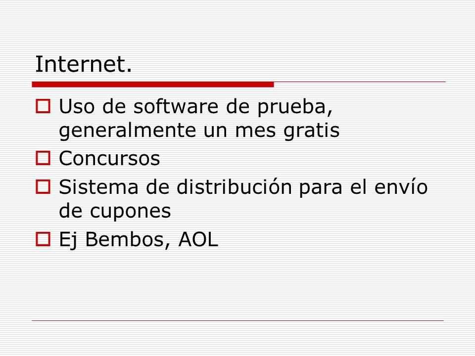 Internet. Uso de software de prueba, generalmente un mes gratis Concursos Sistema de distribución para el envío de cupones Ej Bembos, AOL