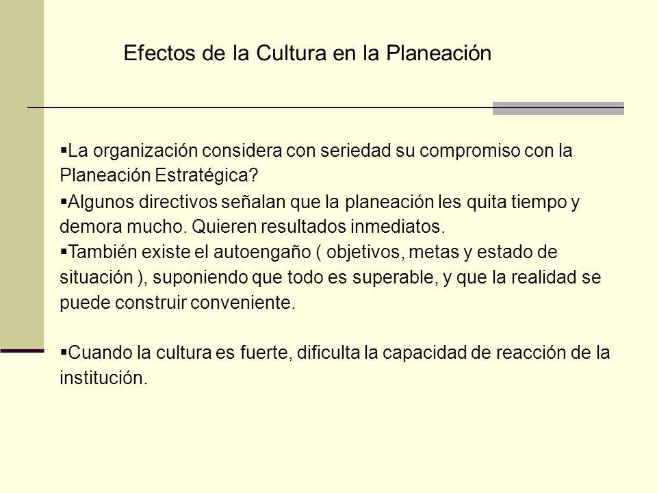 Efectos de la Cultura en la Planeación La organización considera con seriedad su compromiso con la Planeación Estratégica? Algunos directivos señalan