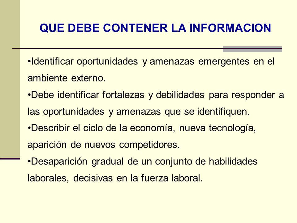 ORGANIZACIÓN DE LA INFORMACION ACERCA DEL ENTORNO Identificar las necesidades de la información de la empresa.