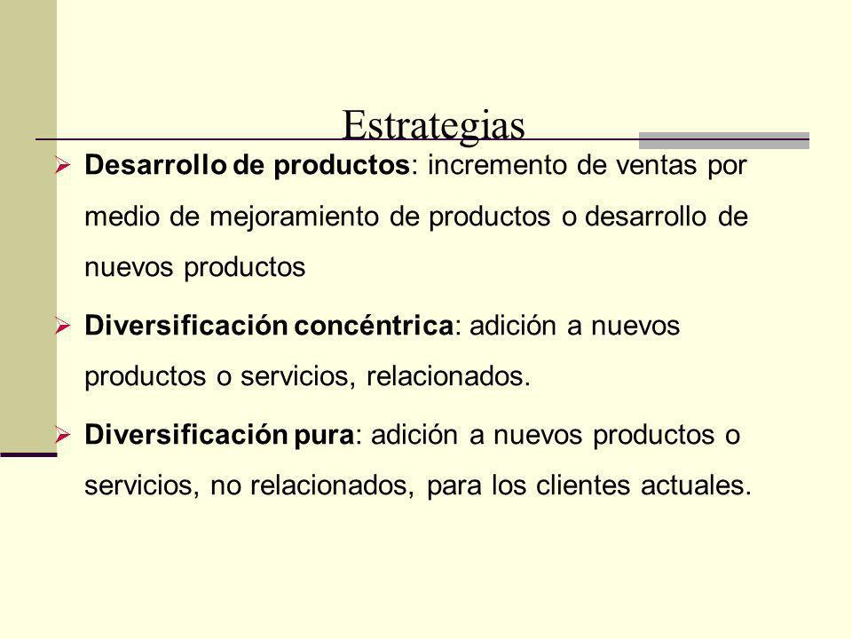 A Desarrollo de productos: incremento de ventas por medio de mejoramiento de productos o desarrollo de nuevos productos Diversificación concéntrica: a