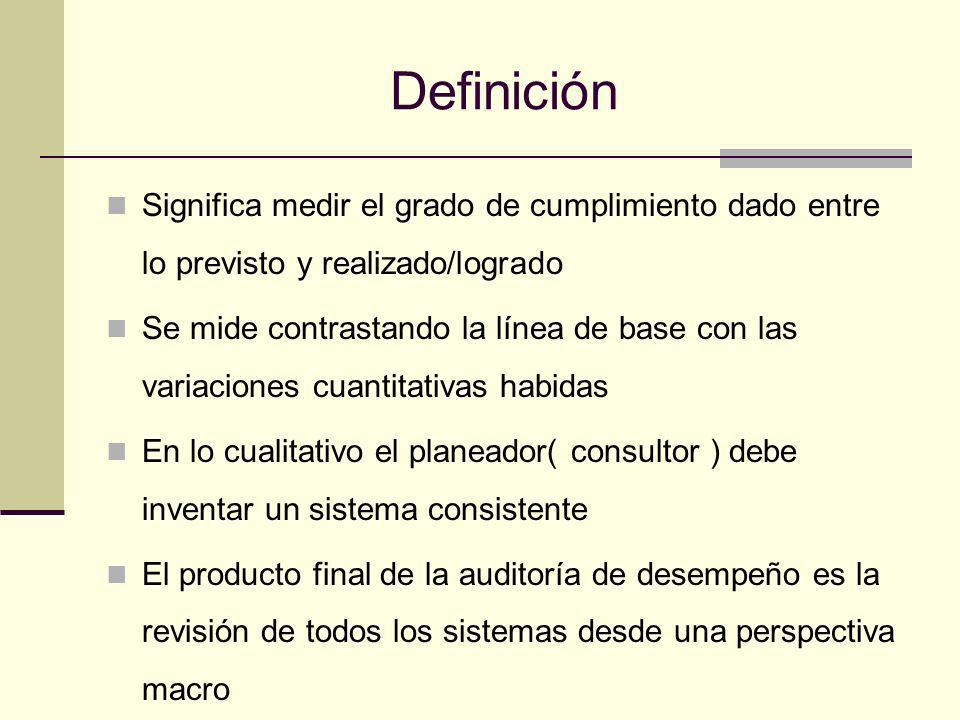 Definición Significa medir el grado de cumplimiento dado entre lo previsto y realizado/logrado Se mide contrastando la línea de base con las variacion