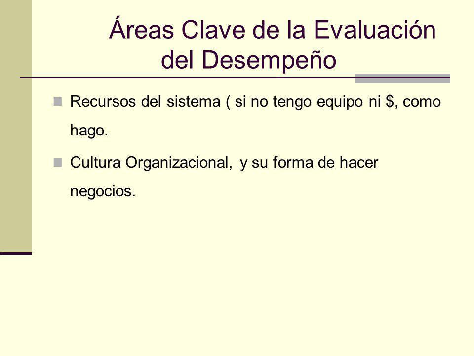 Áreas Clave de la Evaluación del Desempeño Recursos del sistema ( si no tengo equipo ni $, como hago. Cultura Organizacional, y su forma de hacer nego