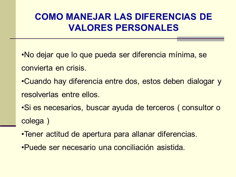 COMO MANEJAR LAS DIFERENCIAS DE VALORES PERSONALES No dejar que lo que pueda ser diferencia mínima, se convierta en crisis. Cuando hay diferencia entr