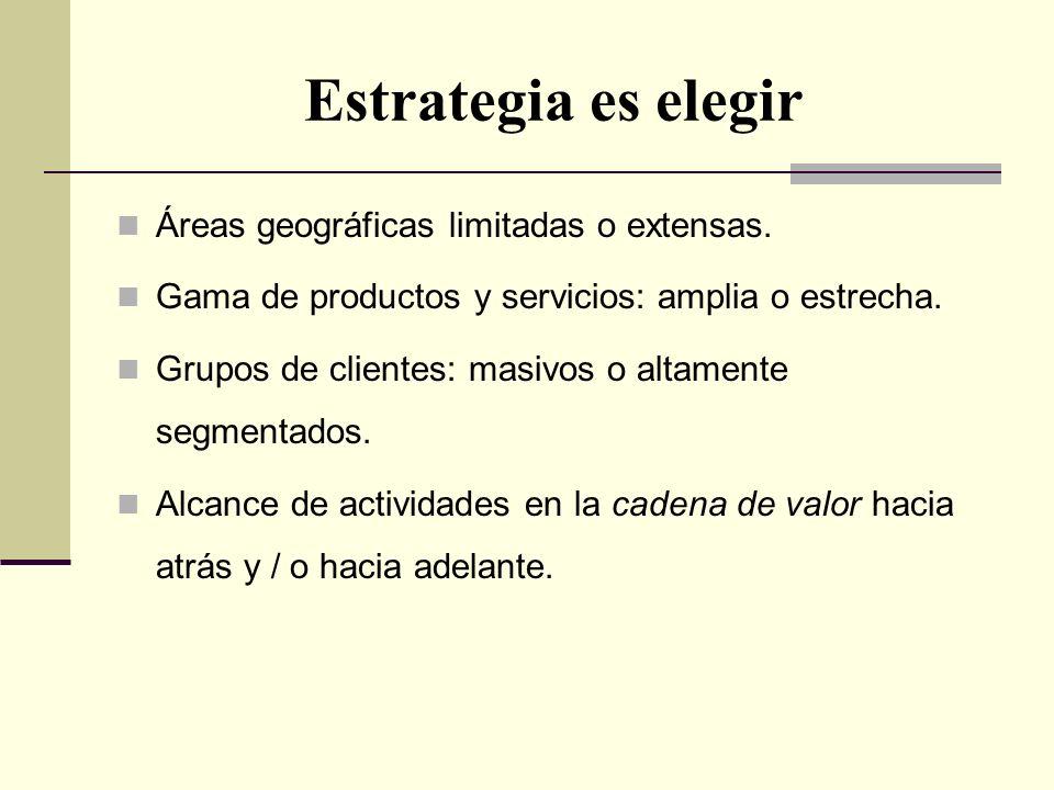 Estrategia es elegir Áreas geográficas limitadas o extensas. Gama de productos y servicios: amplia o estrecha. Grupos de clientes: masivos o altamente