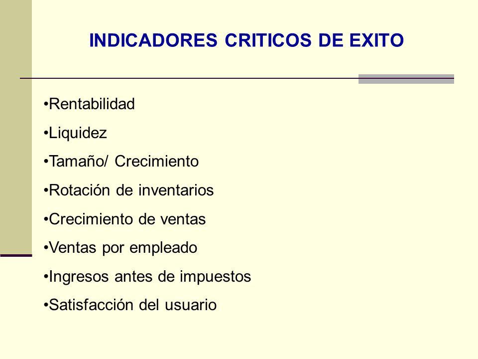 INDICADORES CRITICOS DE EXITO Rentabilidad Liquidez Tamaño/ Crecimiento Rotación de inventarios Crecimiento de ventas Ventas por empleado Ingresos ant