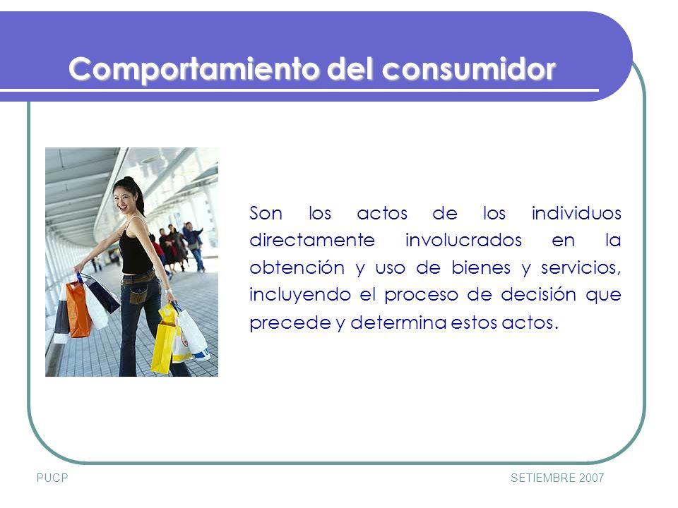 PUCPSETIEMBRE 2007 Influencia Externa Esfuerzos de la firma en Marketing 1.