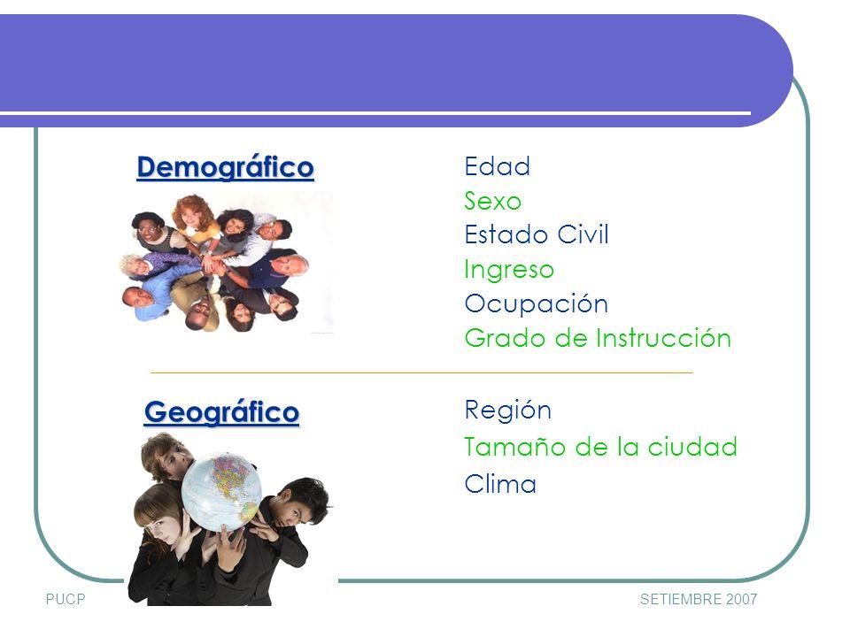 PUCPSETIEMBRE 2007 Demográfico Geográfico Geográfico Edad Sexo Estado Civil Ingreso Ocupación Grado de Instrucción Región Tamaño de la ciudad Clima