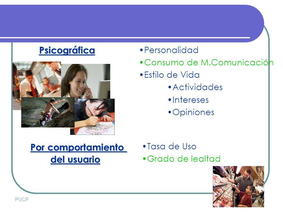 PUCPSETIEMBRE 2007 Psicográfica Por comportamiento del usuario del usuario Personalidad Consumo de M.Comunicación Estilo de Vida Actividades Intereses Opiniones Tasa de Uso Grado de lealtad
