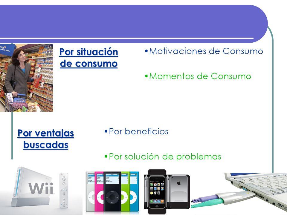 PUCPSETIEMBRE 2007 Por situación de consumo Por ventajas buscadas Motivaciones de Consumo Momentos de Consumo Por beneficios Por solución de problemas