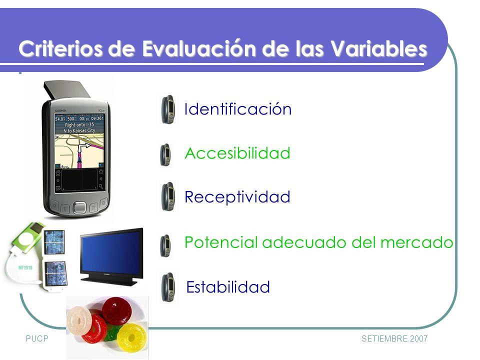 PUCPSETIEMBRE 2007 Identificación Accesibilidad Receptividad Potencial adecuado del mercado Estabilidad Criterios de Evaluación de las Variables