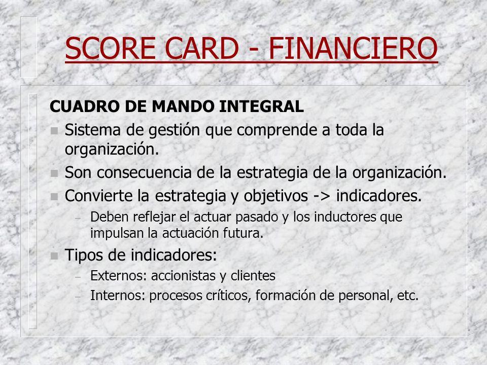 SCORE CARD - FINANCIERO CUADRO DE MANDO INTEGRAL n Sistema de gestión que comprende a toda la organización. n Son consecuencia de la estrategia de la