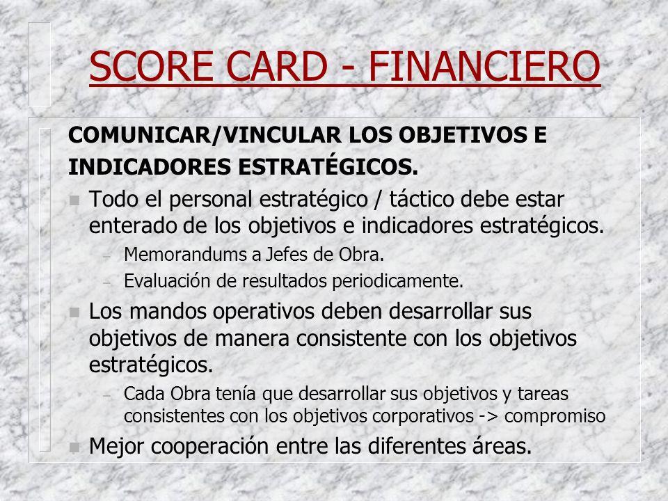 SCORE CARD - FINANCIERO COMUNICAR/VINCULAR LOS OBJETIVOS E INDICADORES ESTRATÉGICOS. n Todo el personal estratégico / táctico debe estar enterado de l