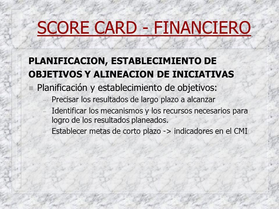 SCORE CARD - FINANCIERO PLANIFICACION, ESTABLECIMIENTO DE OBJETIVOS Y ALINEACION DE INICIATIVAS n Planificación y establecimiento de objetivos: – Prec