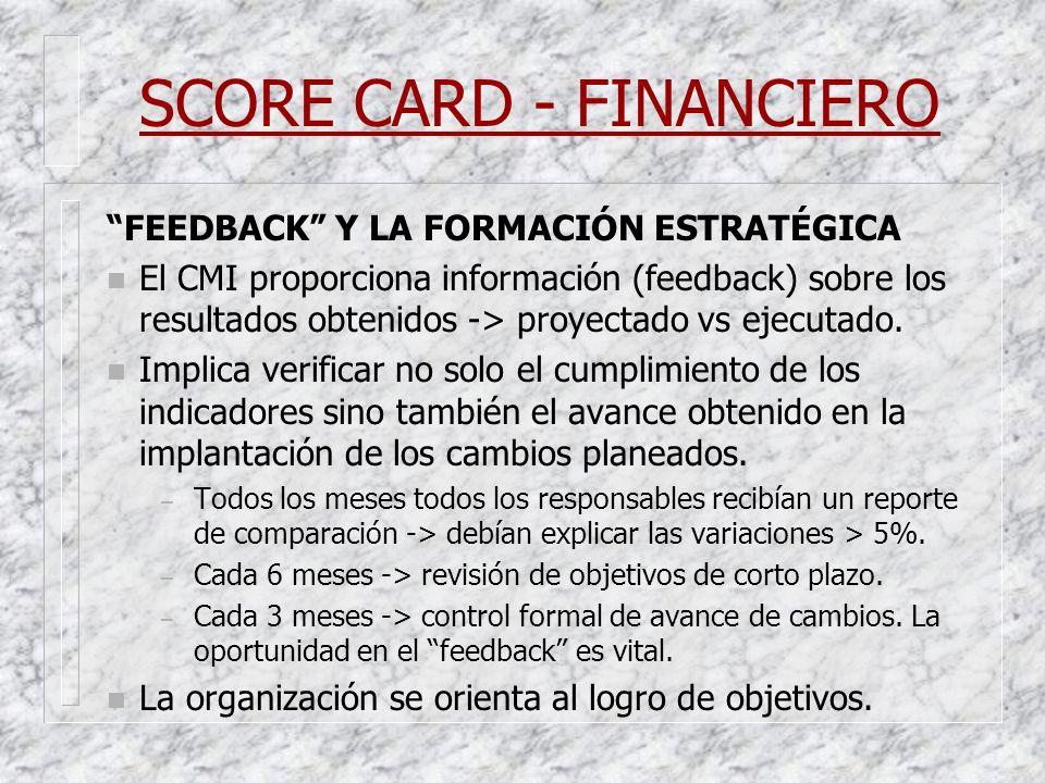 SCORE CARD - FINANCIERO FEEDBACK Y LA FORMACIÓN ESTRATÉGICA n El CMI proporciona información (feedback) sobre los resultados obtenidos -> proyectado v