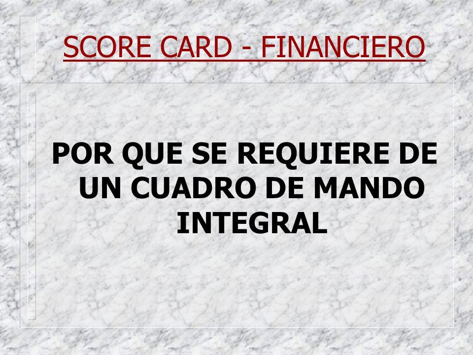 SCORE CARD - FINANCIERO POR QUE SE REQUIERE DE UN CUADRO DE MANDO INTEGRAL