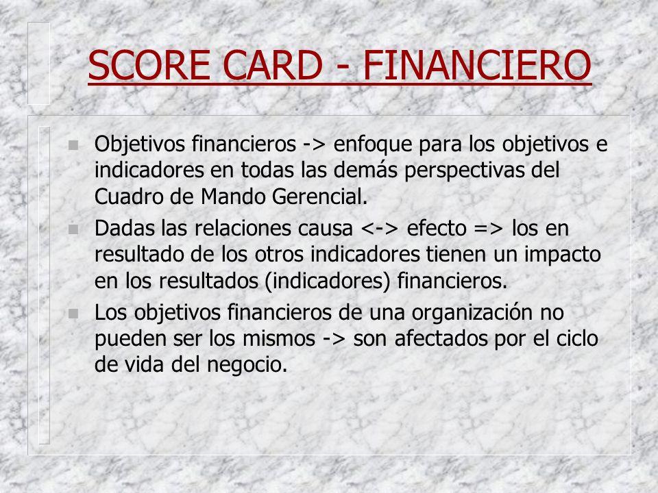 SCORE CARD - FINANCIERO n Objetivos financieros -> enfoque para los objetivos e indicadores en todas las demás perspectivas del Cuadro de Mando Gerenc