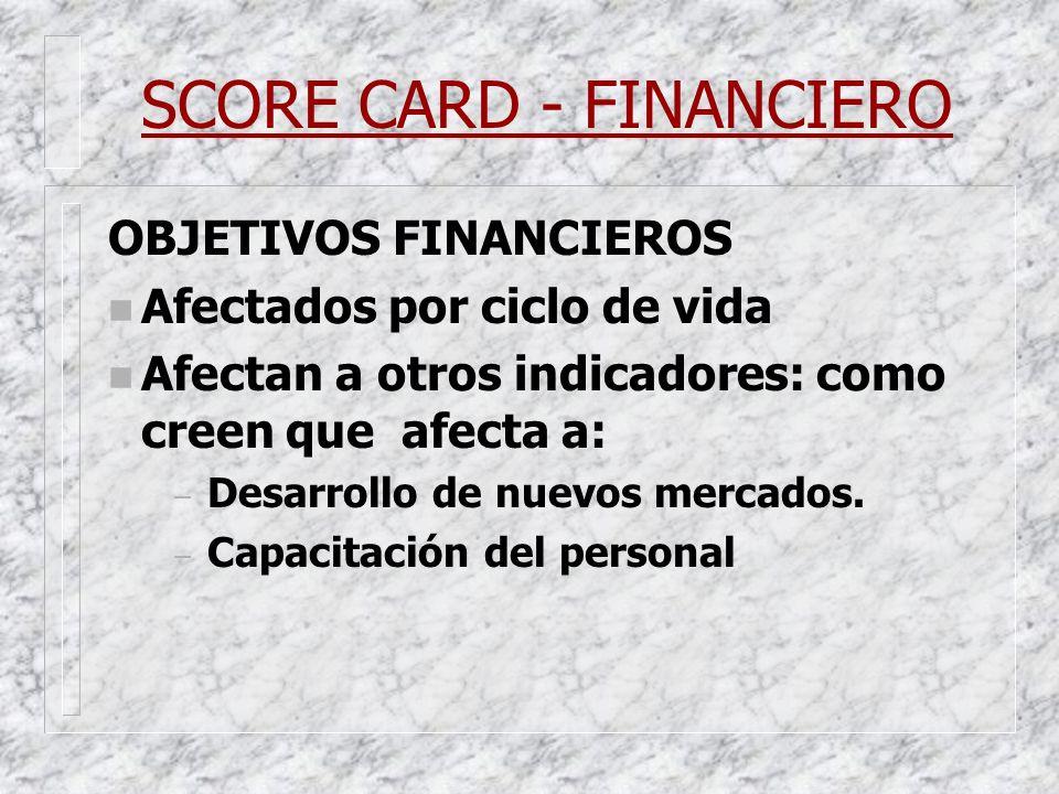 SCORE CARD - FINANCIERO OBJETIVOS FINANCIEROS n Afectados por ciclo de vida n Afectan a otros indicadores: como creen que afecta a: – Desarrollo de nu