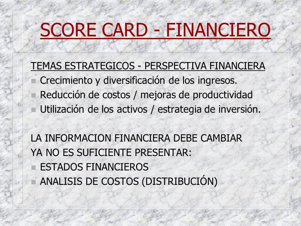 SCORE CARD - FINANCIERO TEMAS ESTRATEGICOS - PERSPECTIVA FINANCIERA n Crecimiento y diversificación de los ingresos. n Reducción de costos / mejoras d