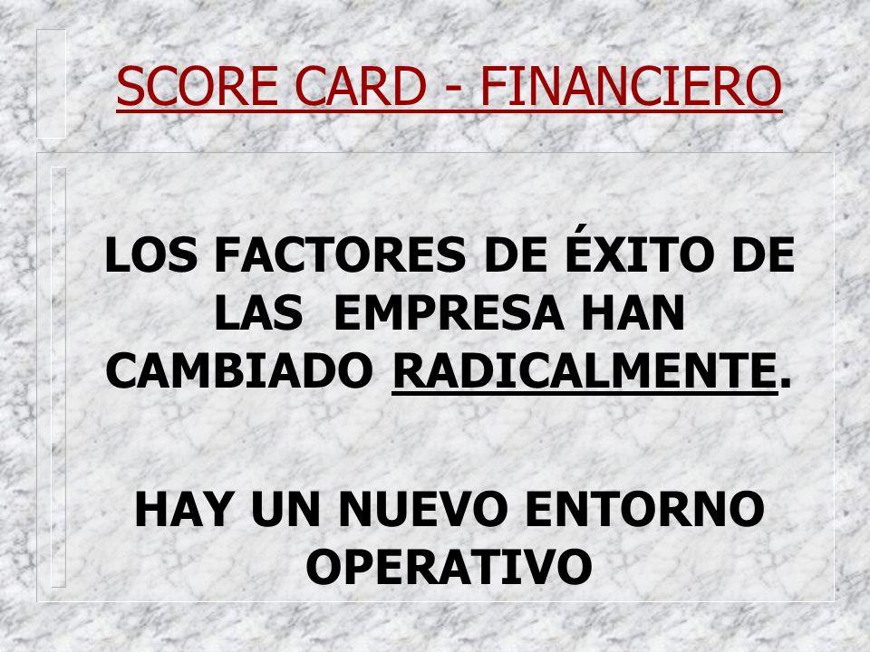 SCORE CARD - FINANCIERO LOS FACTORES DE ÉXITO DE LAS EMPRESA HAN CAMBIADO RADICALMENTE. HAY UN NUEVO ENTORNO OPERATIVO