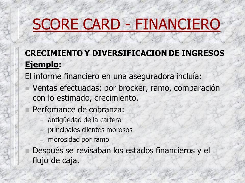 SCORE CARD - FINANCIERO CRECIMIENTO Y DIVERSIFICACION DE INGRESOS Ejemplo: El informe financiero en una aseguradora incluía: n Ventas efectuadas: por