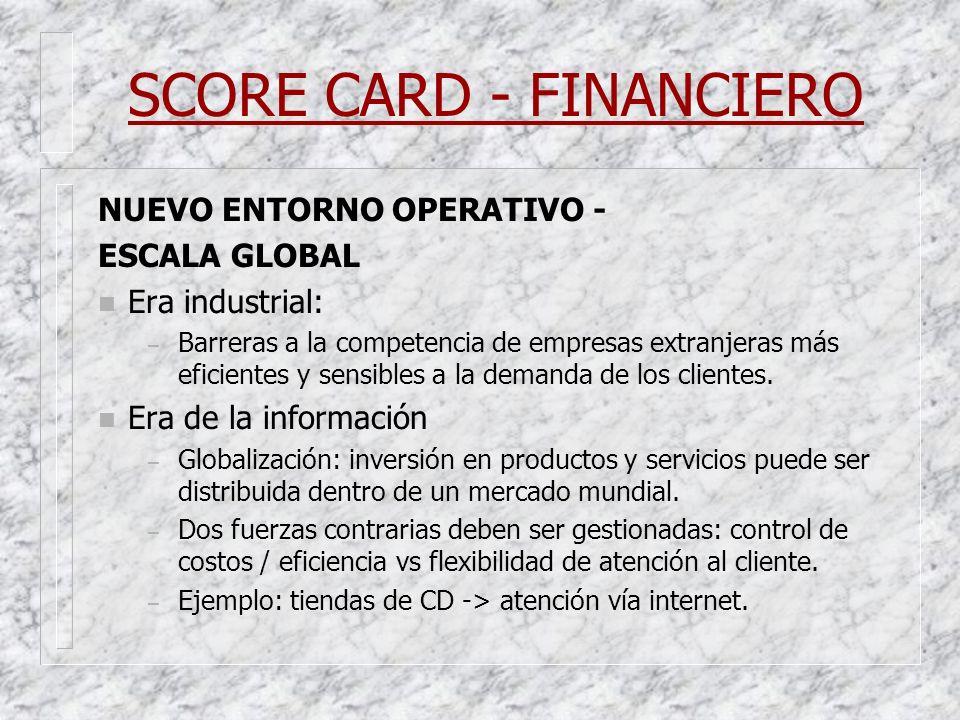 SCORE CARD - FINANCIERO NUEVO ENTORNO OPERATIVO - ESCALA GLOBAL n Era industrial: – Barreras a la competencia de empresas extranjeras más eficientes y