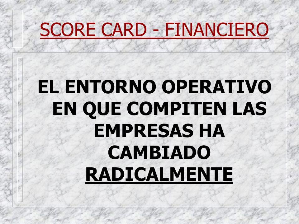 SCORE CARD - FINANCIERO EL ENTORNO OPERATIVO EN QUE COMPITEN LAS EMPRESAS HA CAMBIADO RADICALMENTE
