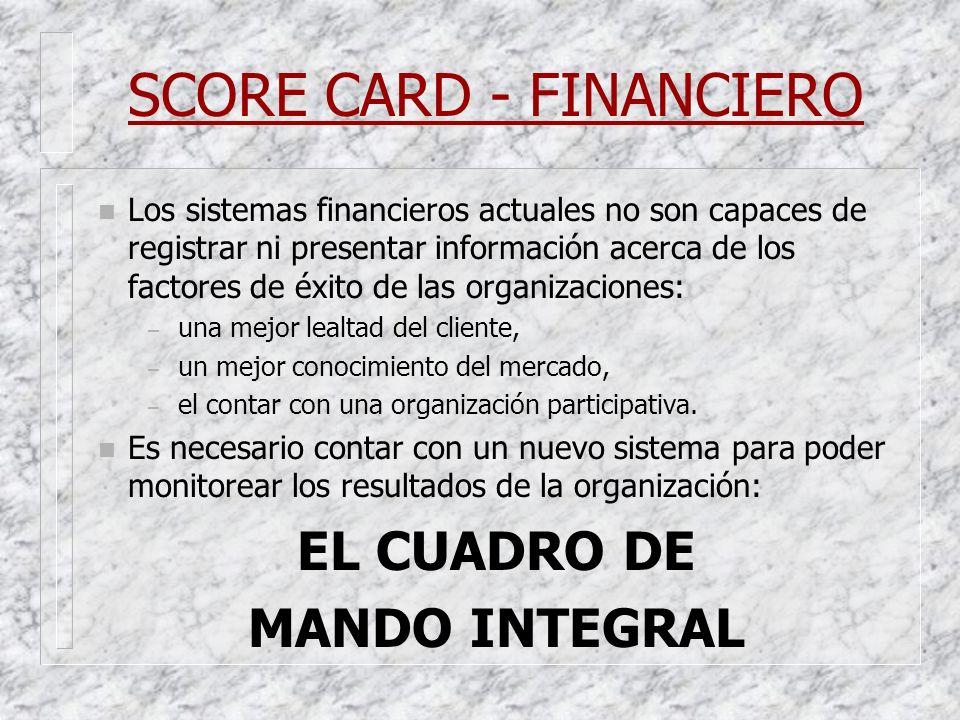 SCORE CARD - FINANCIERO n Los sistemas financieros actuales no son capaces de registrar ni presentar información acerca de los factores de éxito de la