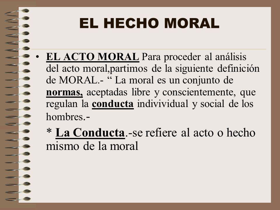 EL HECHO MORAL EL ACTO MORAL Para proceder al análisis del acto moral,partimos de la siguiente definición de MORAL.- La moral es un conjunto de normas