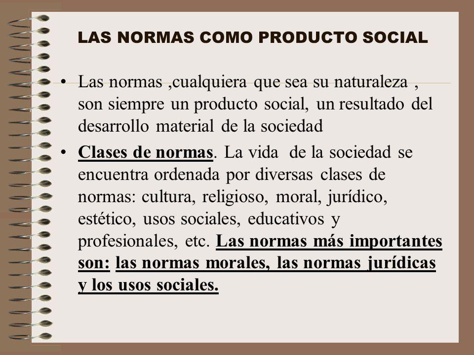 LAS NORMAS COMO PRODUCTO SOCIAL Las normas,cualquiera que sea su naturaleza, son siempre un producto social, un resultado del desarrollo material de l