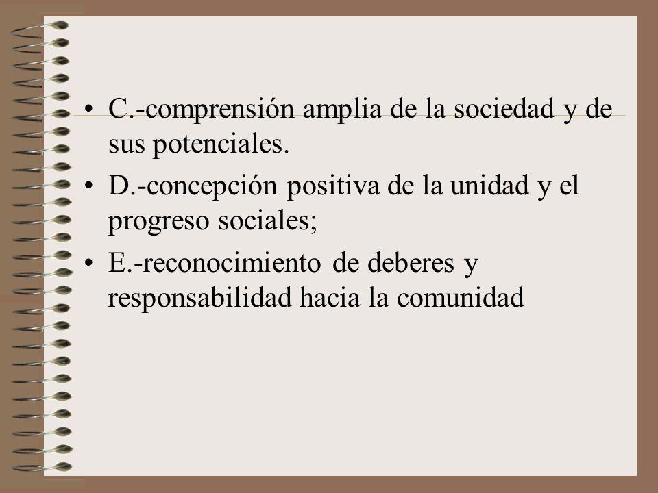 C.-comprensión amplia de la sociedad y de sus potenciales. D.-concepción positiva de la unidad y el progreso sociales; E.-reconocimiento de deberes y