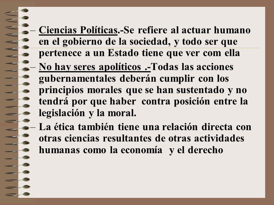 –Ciencias Políticas.-Se refiere al actuar humano en el gobierno de la sociedad, y todo ser que pertenece a un Estado tiene que ver com ella –No hay se