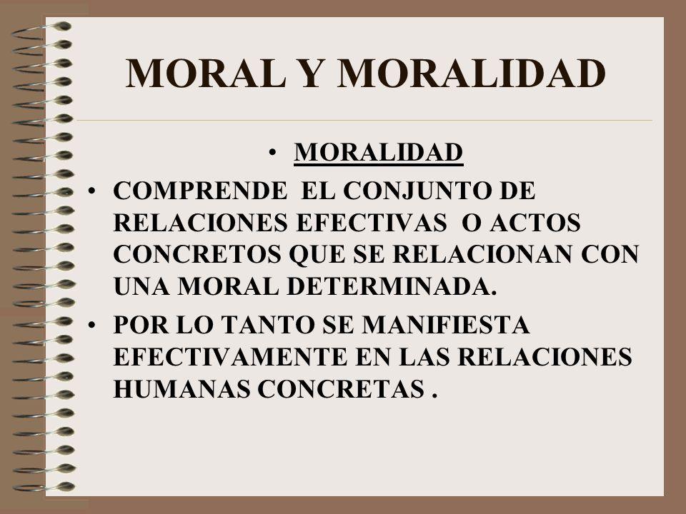 MORAL Y MORALIDAD MORALIDAD COMPRENDE EL CONJUNTO DE RELACIONES EFECTIVAS O ACTOS CONCRETOS QUE SE RELACIONAN CON UNA MORAL DETERMINADA. POR LO TANTO