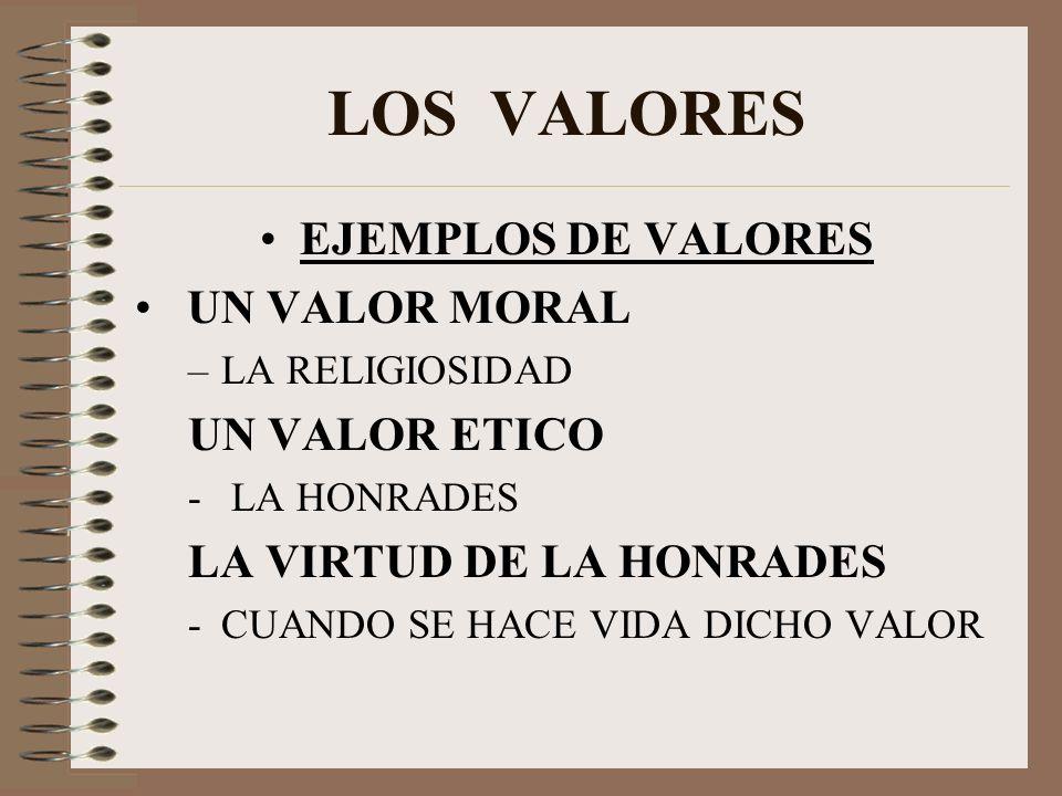 LOS VALORES EJEMPLOS DE VALORES UN VALOR MORAL –LA RELIGIOSIDAD UN VALOR ETICO - LA HONRADES LA VIRTUD DE LA HONRADES -CUANDO SE HACE VIDA DICHO VALOR