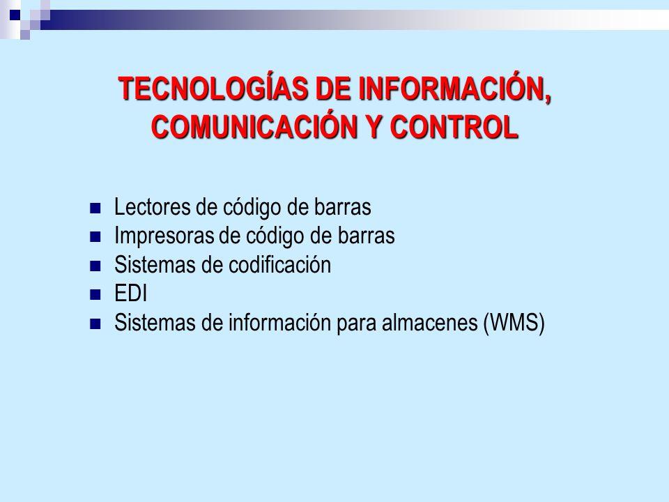 TECNOLOGÍAS DE INFORMACIÓN, COMUNICACIÓN Y CONTROL Lectores de código de barras Impresoras de código de barras Sistemas de codificación EDI Sistemas d