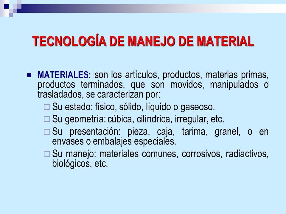 TECNOLOGÍA DE MANEJO DE MATERIAL MATERIALES: son los artículos, productos, materias primas, productos terminados, que son movidos, manipulados o trasl