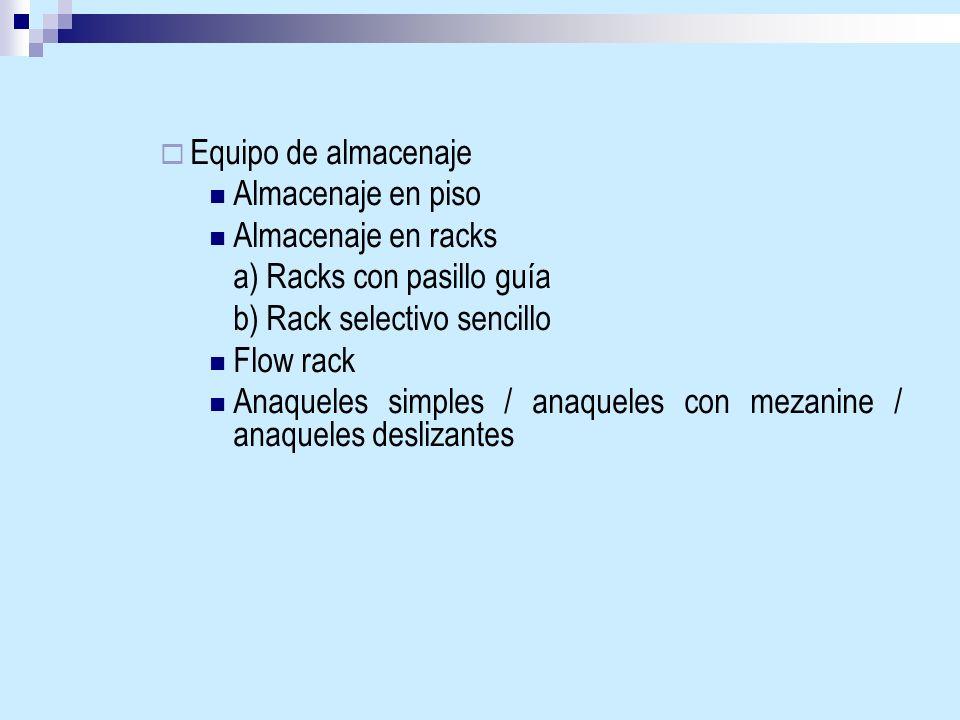 Equipo de almacenaje Almacenaje en piso Almacenaje en racks a) Racks con pasillo guía b) Rack selectivo sencillo Flow rack Anaqueles simples / anaquel