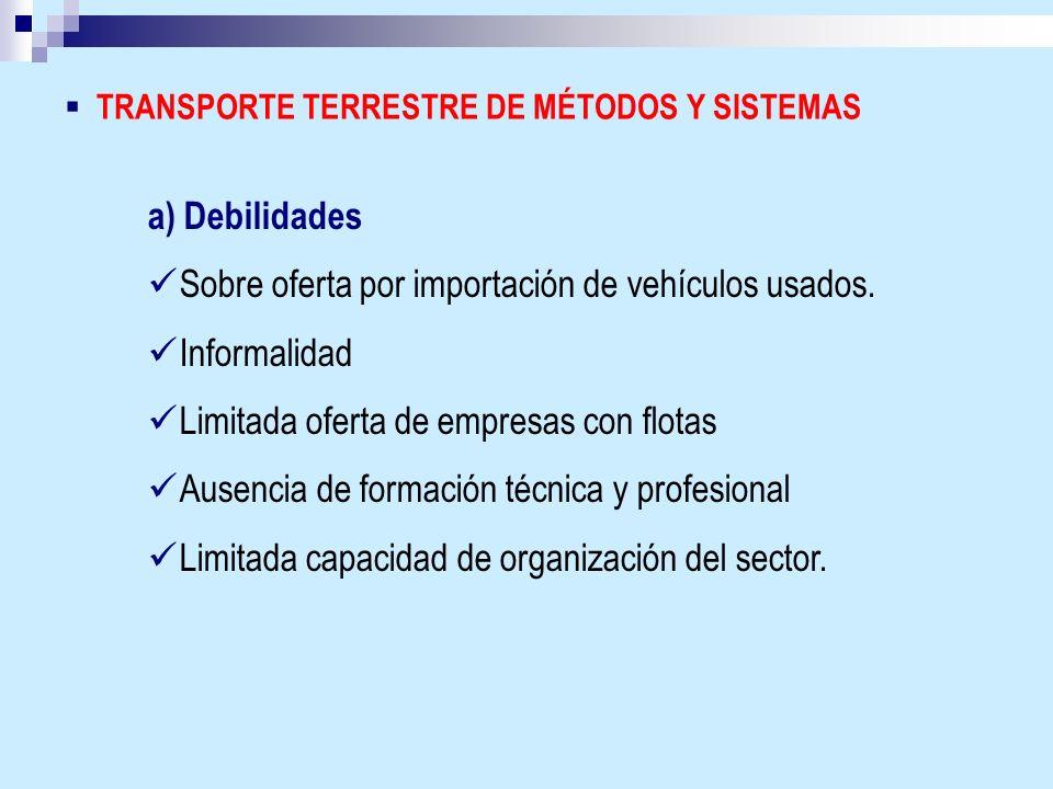 TRANSPORTE TERRESTRE DE MÉTODOS Y SISTEMAS a) Debilidades Sobre oferta por importación de vehículos usados. Informalidad Limitada oferta de empresas c