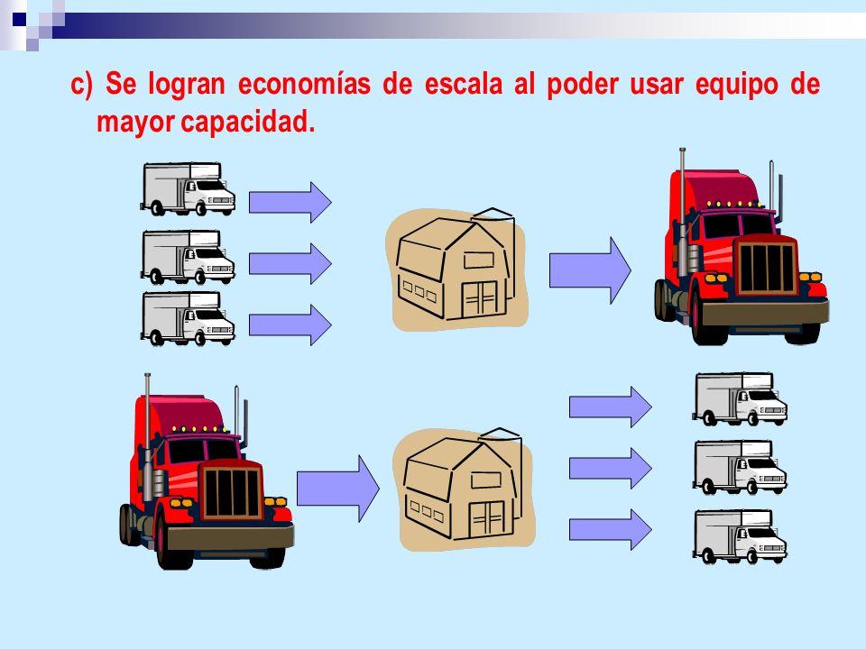 c) Se logran economías de escala al poder usar equipo de mayor capacidad.