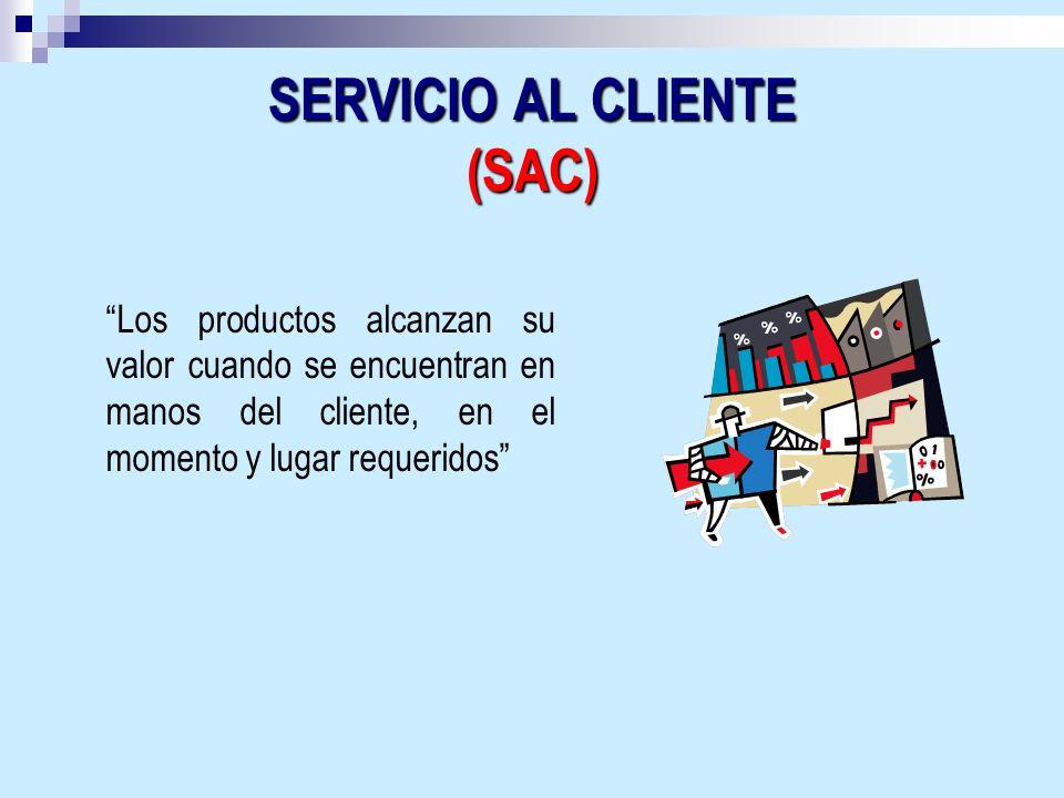 SERVICIO AL CLIENTE (SAC) Los productos alcanzan su valor cuando se encuentran en manos del cliente, en el momento y lugar requeridos