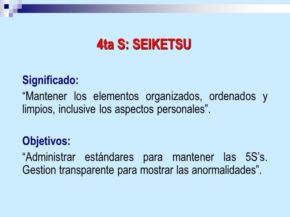 Significado: Mantener los elementos organizados, ordenados y limpios, inclusive los aspectos personales. Objetivos: Administrar estándares para manten