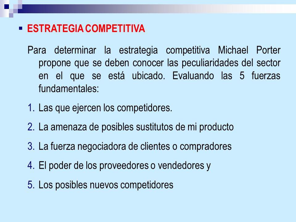ESTRATEGIA COMPETITIVA Para determinar la estrategia competitiva Michael Porter propone que se deben conocer las peculiaridades del sector en el que s