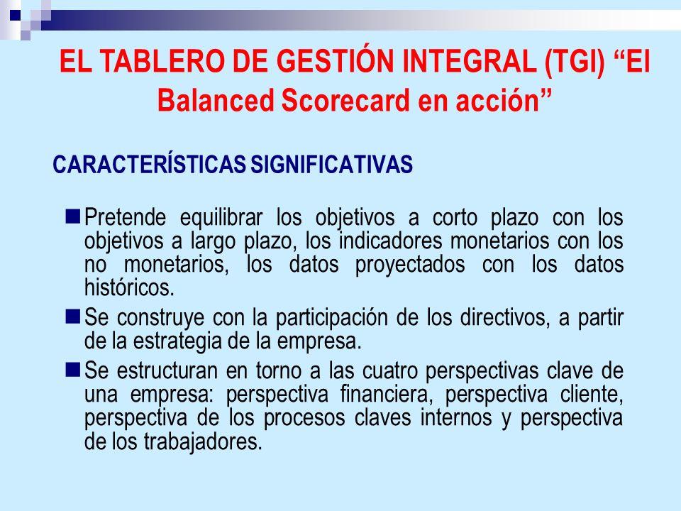CARACTERÍSTICAS SIGNIFICATIVAS Pretende equilibrar los objetivos a corto plazo con los objetivos a largo plazo, los indicadores monetarios con los no