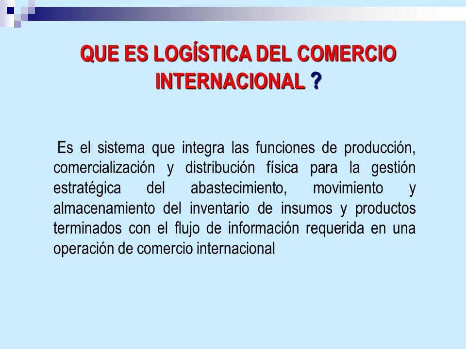 QUE ES LOGÍSTICA DEL COMERCIO INTERNACIONAL ? Es el sistema que integra las funciones de producción, comercialización y distribución física para la ge